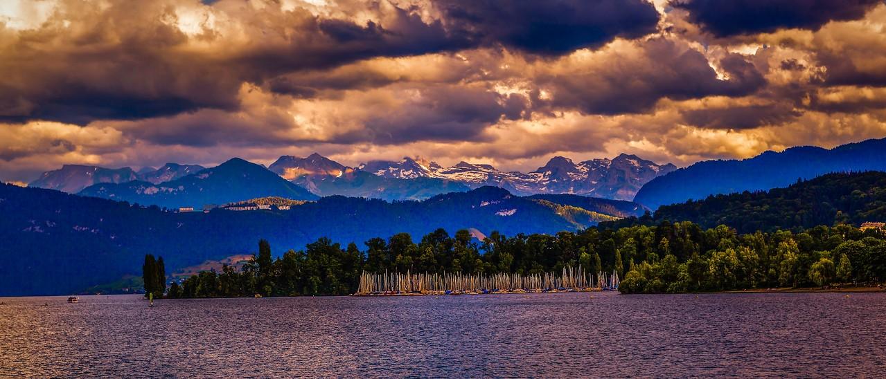 瑞士卢塞恩(Lucerne),湖边山景_图1-10