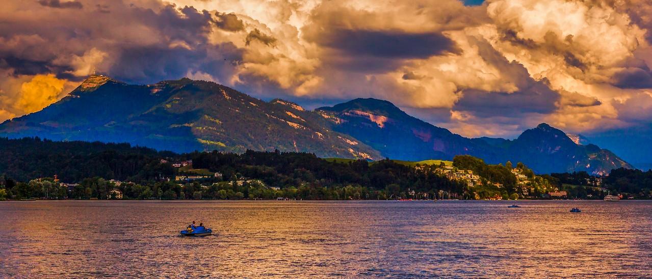 瑞士卢塞恩(Lucerne),湖边山景_图1-9