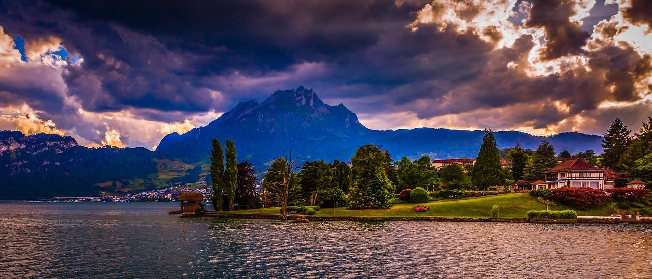 瑞士卢塞恩(Lucerne),湖边山景_图1-3