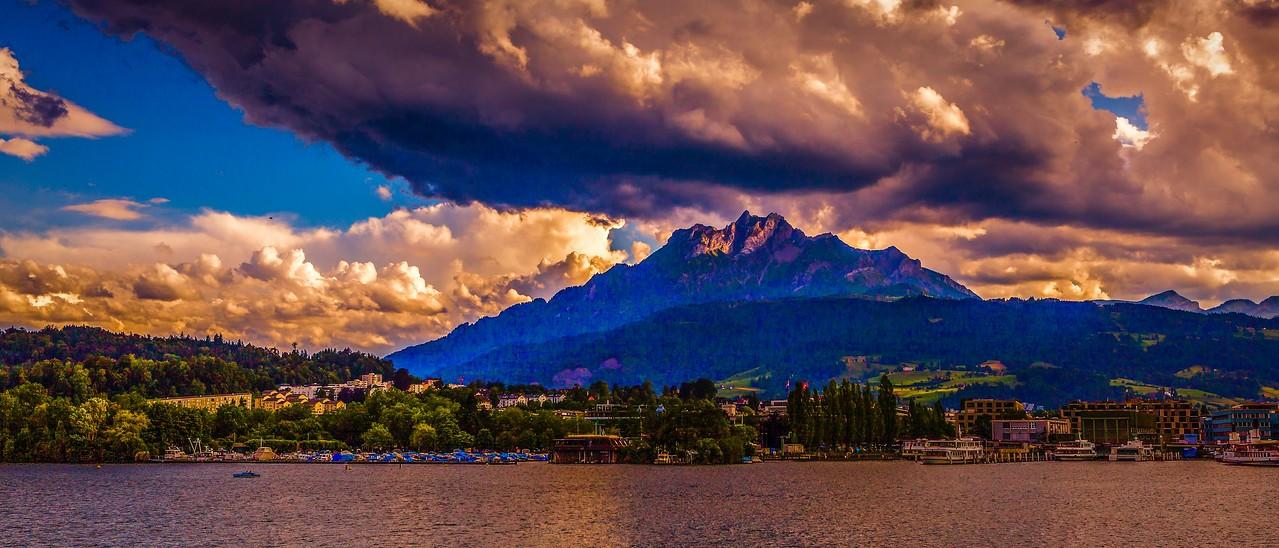 瑞士卢塞恩(Lucerne),湖边山景_图1-14