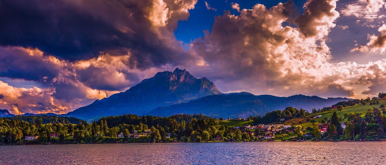 瑞士卢塞恩(Lucerne),湖边山景_图1-13