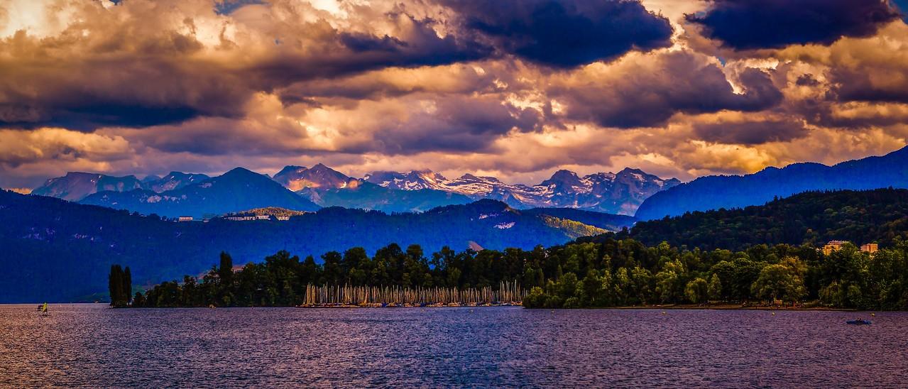瑞士卢塞恩(Lucerne),湖边山景_图1-18
