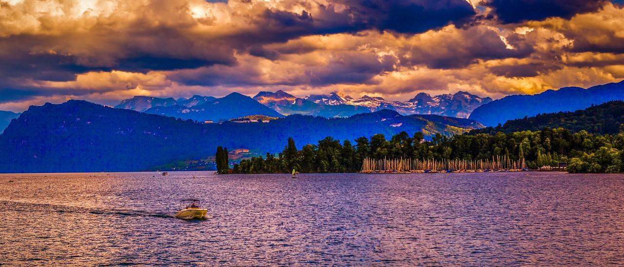 瑞士卢塞恩(Lucerne),湖边山景_图1-16