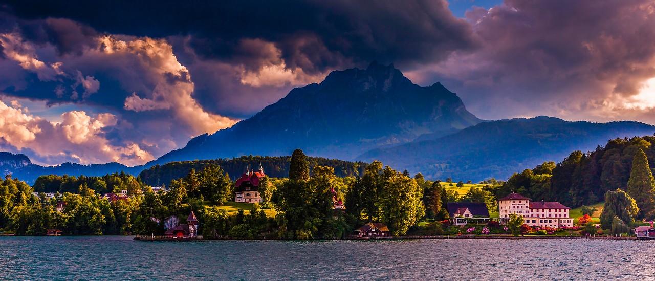 瑞士卢塞恩(Lucerne),湖边山景_图1-17