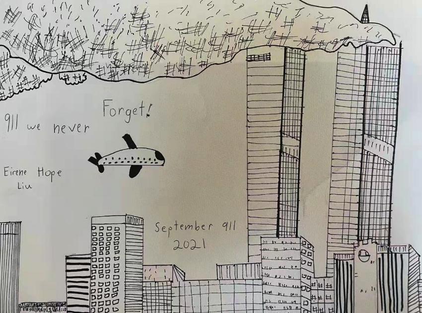 10岁华裔女孩Eirene Hope Liu画作参加911纪念展赢得好评_图1-2
