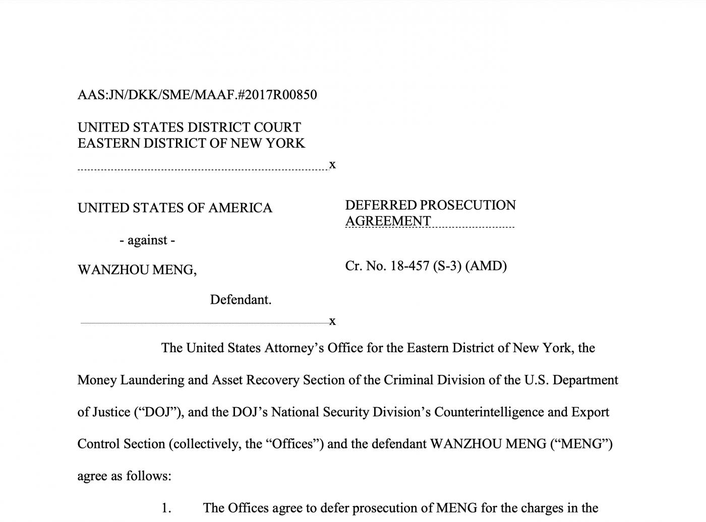 全文阅读美国司法部与孟晚舟的协议_图1-2