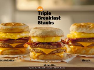 麦当劳推出全新三层早餐三明治Triple Breakfast Stacks