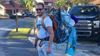身背14公斤垃圾完赛 迈阿密马拉松的倒数第1太感人