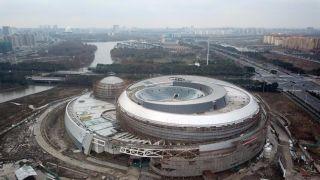 航拍上海世界最大天文馆 呈现天体结构造型独特