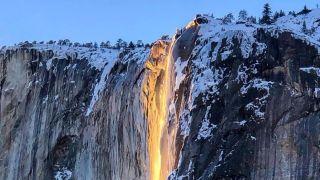 """阳光制造美丽错觉 加州一""""火瀑布""""倾泻而下"""