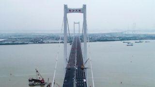 航拍通车在即的广东虎门二桥