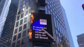 纽约时代广场广告牌起火 未造成人员伤亡