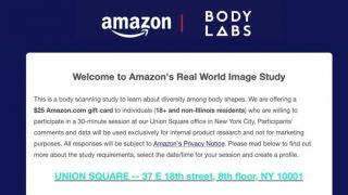 亚马逊邀用户3D扫描全身换$25礼品卡 又有新黑科技?