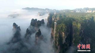 湖南张家界云雾绕峰林 风景美如画