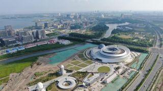 航拍上海自贸试验区临港新片区重要地标