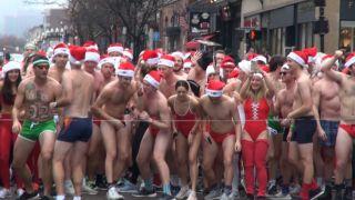 泳装裸跑波士顿 性感疯狂的圣诞老人