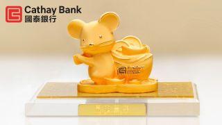 国泰银行新春定存推广活动 镀金招财小老鼠回馈客户