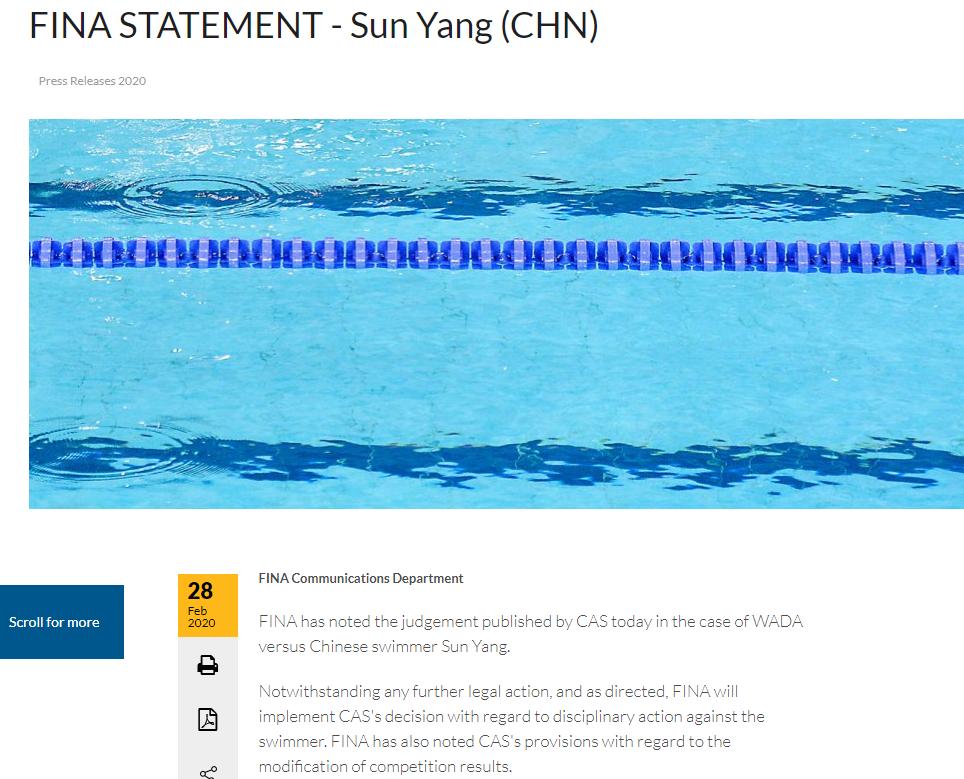 国际泳联:执行国际体育仲裁法庭对孙杨的裁决_图1-3