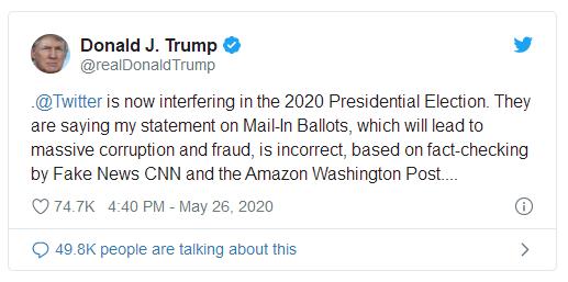 """邮寄选票推文被标""""事实核查""""  川普威胁关闭社交媒体平台_图1-5"""