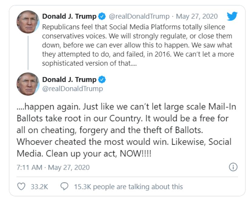 """邮寄选票推文被标""""事实核查""""  川普威胁关闭社交媒体平台_图1-4"""