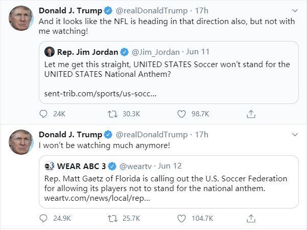允许球员奏国歌时下跪 川普:我不看NFL和美国足球了_图1-4