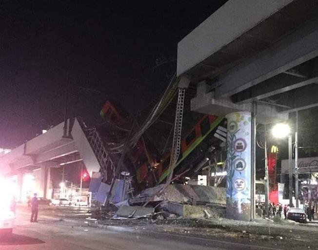 墨西哥一轨道交通设施坍塌已致23人死亡_图1-4