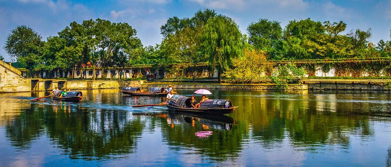 浙江东湖,小桥小船