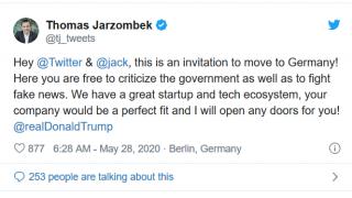 推特与总统激战正酣 德国发来贺电:欢迎来欧洲