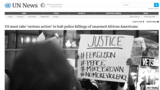 """联合国官员谴责美国警察暴力执法致非裔死亡 呼吁其采取""""严肃行动"""""""