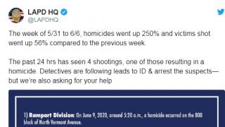 这个月,洛杉矶凶杀案激增