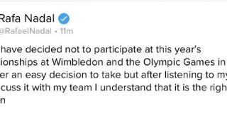纳达尔宣布退出温网和东京奥运会